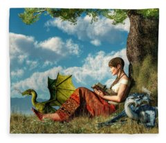 Reading About Dragons Fleece Blanket