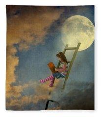 Reading At Moonlight Fleece Blanket