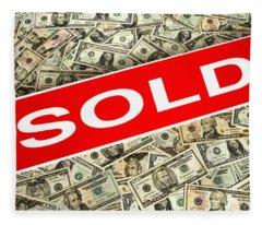 Real Estate Sold Sign Over Dollar Money Background Fleece Blanket