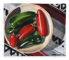 Red And Green Peppers Fleece Blanket