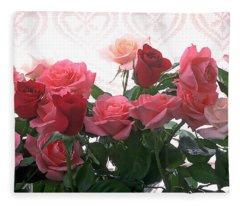 Red And Pink Roses In Window Fleece Blanket