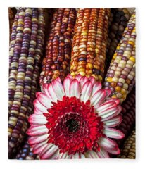 Red And White Mum With Indian Corn Fleece Blanket
