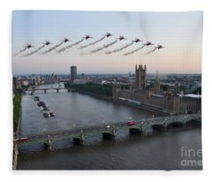 Red Arrows At Westminster  Fleece Blanket