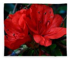 Red Azalea Flower Fleece Blanket