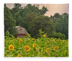Red Barn Among The Sunflowers Fleece Blanket