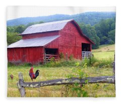 Red Barn And Rooster Fleece Blanket