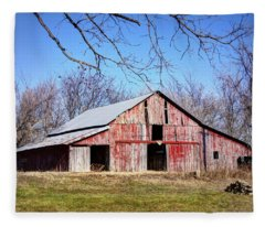Red Barn On The Hill Fleece Blanket