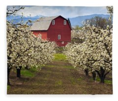 Red Barn Spring Fleece Blanket