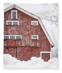 Red Barn Whiteout Fleece Blanket