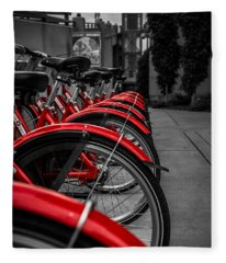 Red Bicycles Fleece Blanket