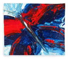 Red Blue Butterfly Fleece Blanket