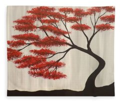 Red Bonsai Fleece Blanket