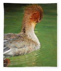 Red Breasted Merganser Fleece Blanket