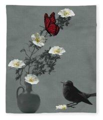 Red Butterfly In The Eyes Of The Blackbird Fleece Blanket