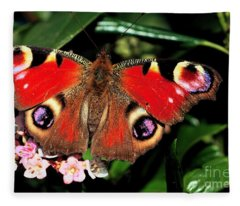 Red Butterfly In The Garden Fleece Blanket