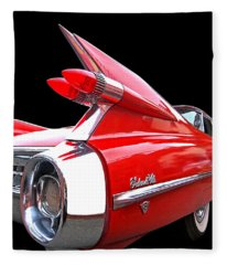 Red Cadillac Sedan De Ville 1959 Tail Fins Fleece Blanket
