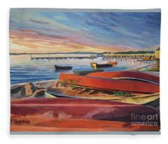 Red Canoe Sunset Fleece Blanket