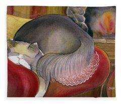 Sleeping Persian Cat On Red Sofa Fleece Blanket