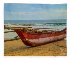 Red Catamaran At The Hikkaduwa Beach Fleece Blanket