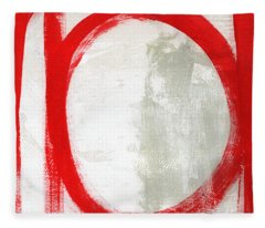 Red Circle 3- Abstract Painting Fleece Blanket