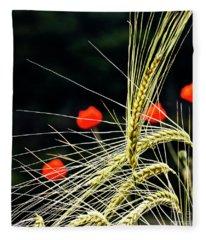 Red Corn Poppies Fleece Blanket