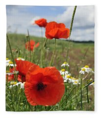 Red Corn Poppy And Green Meadow Fleece Blanket