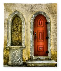 Red Door Of The Medieval Castle Of Sintra Fleece Blanket