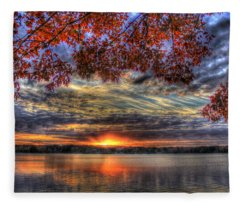 Good Bye Until Tomorrow Fall Leaves Sunset Lake Oconee Georgia Fleece Blanket
