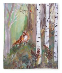 Red Fox And Cardinals Fleece Blanket