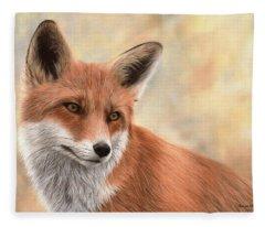 Red Fox Painting Fleece Blanket