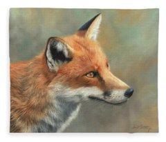 Red Fox Portrait Fleece Blanket