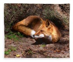 Red Fox Resting Fleece Blanket