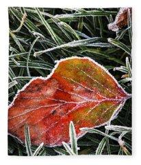 Red Frosty Leaf On Frozen Ground Fleece Blanket