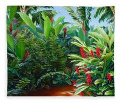 Tropical Jungle Landscape - Red Garden Hawaiian Torch Ginger Wall Art Fleece Blanket