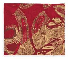 Red Geranium Abstract Fleece Blanket