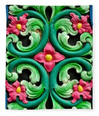 Red Green And Blue Floral Design Singapore Fleece Blanket
