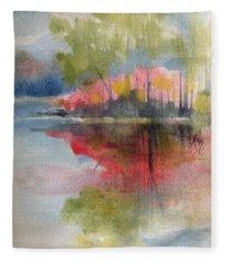 Red Lake Reflection #2 Fleece Blanket