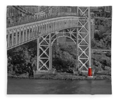 Red Lighthouse And Great Gray Bridge Bw Fleece Blanket