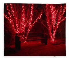 Red Lights And Bench Fleece Blanket
