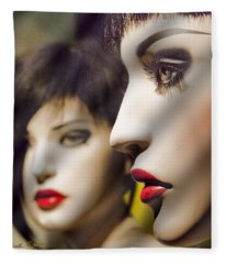 Red Lips - Black Heart Fleece Blanket