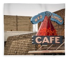 Red Lodge Cafe Old Neon Sign Fleece Blanket