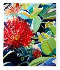 Red Ohia Lehua Flower Fleece Blanket