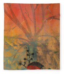 Red Peace Bird Fleece Blanket