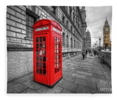 Red Phone Box And Big Ben Fleece Blanket
