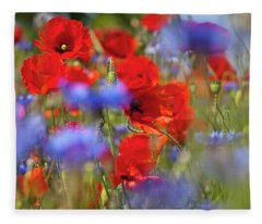 Red Poppies In The Maedow Fleece Blanket