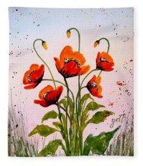 Red Poppies Original Watercolor  Fleece Blanket