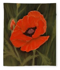 Red Poppy Fleece Blanket