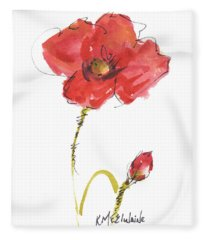 Red Poppy And Bud Fleece Blanket