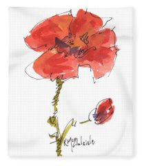 Red Poppy And Pal Fleece Blanket