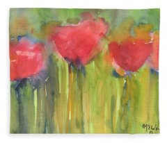 Red Poppy Elegance Fleece Blanket